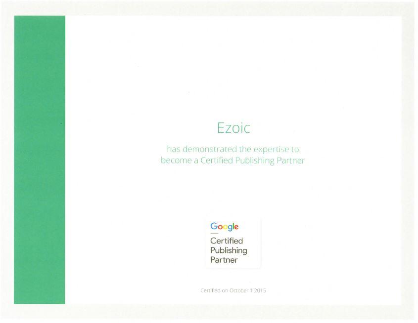 ezoic gcpp certificate